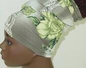 Natural Hair Accessories-Locs-HeadBand-HeadTube-Green Gray Floral-Flowers