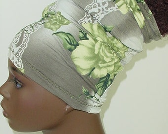 Natural Hair Accessories-Locs-HeadBand-HeadTube-Green Gray Floral-Flowers
