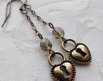 75% Off Steampunk Earrings- Heart Padlock with Czech Glass Beads