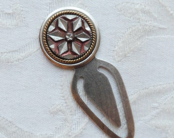 Bookmark, Antique Pewter Button,  Six Point Star Pattern, Red Tint with Silver Highlights