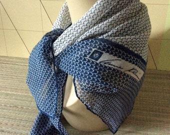 Vintage Anne Klein lion logo blue & white silk chiffon square scarf