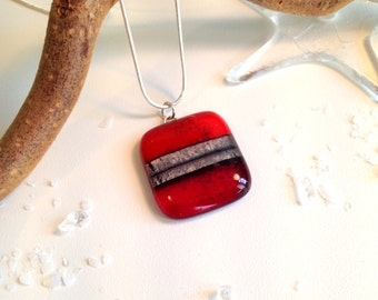 Handmade Silver Fused Glass Necklace in Gift Box - Ruby Red and Silver - FREE UK SHIPPING