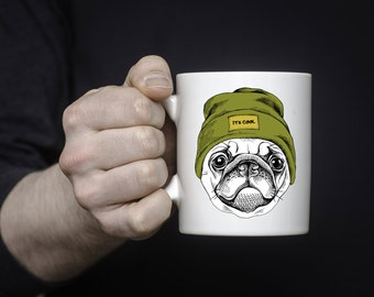 Pug Coffee Mug | Ceramic Coffee Mug | Gift for Coffee Drinker | Coffee Mug Gift | Sublimation Mug | Gift for Pug Owner