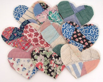 10 Cutter Quilt Hearts - Patchwork Hearts - Thick and Fluffy - Vintage Quilt Hearts - Shabby - Primitive - Antique Quilt