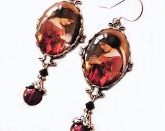 Pre Raphaelite Earrings - Preraphaelite - Waterhouse earrings - Witch Earrings - Red Silver earrings- Goth jewelry - Red Earrings - Gothic