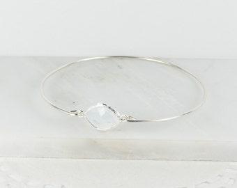 White Opal Sterling Silver Bangle, Sterling Silver Bracelet, October Birthstone Silver Bracelet, White Opal Bracelet, October Gift