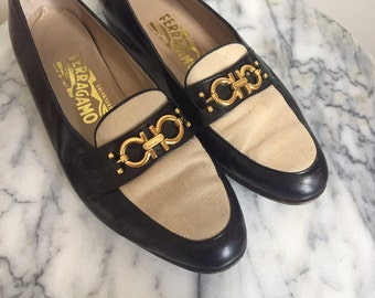 Awesome Vintage Salvatore Ferragamo Two Tone Leather Loafers. Size 8.5 - 8 1/2