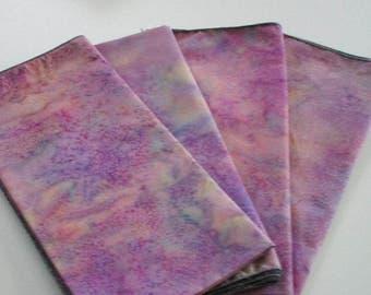 """Napkins,dinner size napkins,18""""x18"""" approx.,handmade napkins,batik cotton napkins,dining table decor,cotton napkins,batik fabric,purple,pink"""