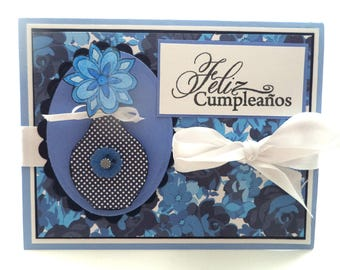 Feliz Cumpleanos Card, Blue and White Birthday Card, Spanish Birthday Card,  Floral Birthday Card, Birthday Card for Aunt, Grandma, Niece