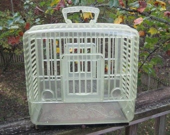 Charming Vintage Plastic Birdcage Bird Cage Green Used Rare HTF Art Deco