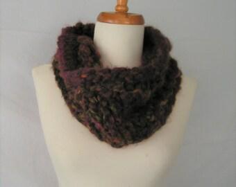 Cowl Handknit MONGO in Berry Brown Russet Green Cowl Soft Wool Acrylic Scarf Neckwear Handknit Original Design