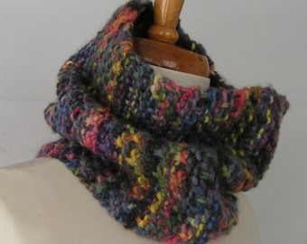 Cowl Handknit MAD MULTI Soft Wool Scarf Neckwear Handknit