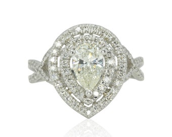 Engagement Ring, Platinum Pear Cut Diamond Ring with All Diamond Side Stones - LS2830