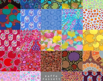 24 Different Kaffe Fassett Fabric Charm Square Pack - Prewashed, Rotary cut