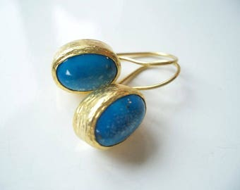 Gold Plate Turquoise Silver earring