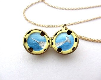 Narwhal Necklace, Truly Painted by Hand, Original Locket Miniature