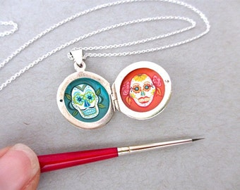 Miniature Oil Painting, Day Of The Dead His and Hers, Sterling Silver Locket