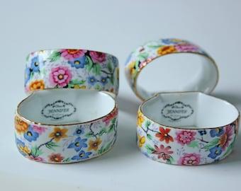 Vintage floral chintz porcelain napkin rings - set of 4