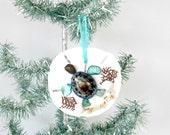 Turtle Ornament, Sand Dollar Turtle, Coastal Christmas Tree Ornament, Lavender Limpet and Seafans,Sea Turtle, Coastal Beach Xmas Decor