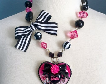 Hot Pink and Black Gothic Barbie Heart Resin Necklace