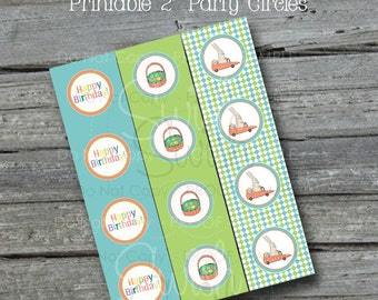 Easter Egg Hunt Cupcake Toppers | Bunny Birthday | Party Circles | Boy 1st 2nd Birthday - Party Printables - INSTANT DOWNLOAD
