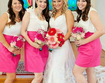 CUSTOM Gathered Pencil Pink Wedding Skirt