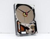 Geek clock gift, hard drive clock, Computer parts clock, Industrial desin gift clock  geek lovers gift, Recycled Computer Hard Drive Clock,