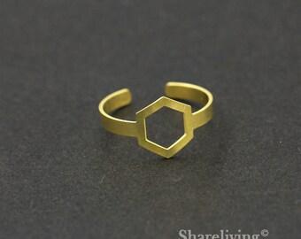 2pcs Raw Brass Hexagonal Ring,Adjustable Geometry Brass Rings - TR005