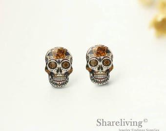 4pcs (2 pairs) Mini Sugar Skull Charm / Pendant, Stud Earring, Laser Cut Tiny Skull Earring, Perfect for Earring / Rings - YED016G