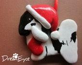 Havanese Santa Ornament. Artist Hand-Made OOAK Dog Art. Christmas.