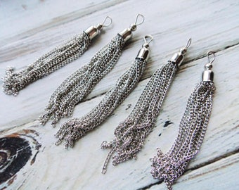 Long Silver Chain Tassel - 3.25 inch Mala Earring Tassel - Silver Plated Finding Jewelry Accessory Supply - Boho Jewelry Supply