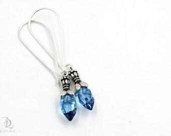 Blue // Sterling Silver Swarovski Dangle Boho Luxe Bohemian Earrings earrings by BellaLili