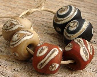 SCRIPTS - Handmade Lampwork Round Beads - Earring Pairs - 6 Beads