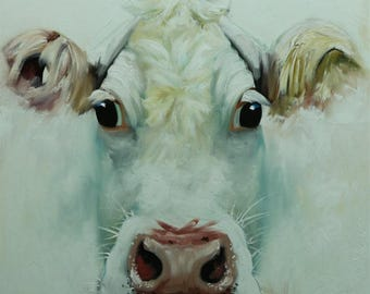 Cow painting 1199 24x24 inch animal original oil painting by Roz