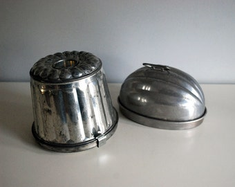 Vintage Jello Molds, Metal Pudding Molds, Farmhouse Kitchen Decor, Tin German Mold, Aluminum Wear-Ever Melon Mold, Cottage Chic Bakeware