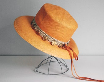 Orange Straw Hat, Adolfo II Broad Brimmed Hat, 1970s Mod Hat, Beach Sun Hat, Summer Fashion, Saks Fifth Avenue