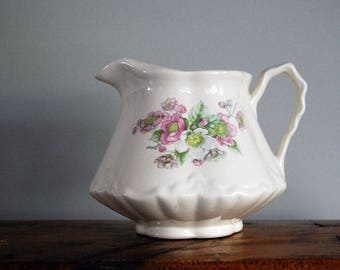 1950s Floral Pitcher, Cottage Chic Decor, Pink Poodle Ceramics, Booneville Missouri, White Milk Jug, Pink Green Flower, Transferware Pitcher