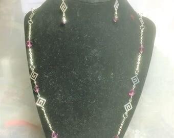 Purple Crystal Greek Key Necklace and Earring Set #470