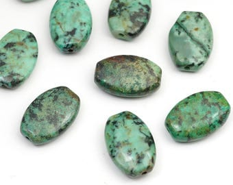 Flat oval African turquoise beads, blue green semiprecious stone 15mm, 10 pcs