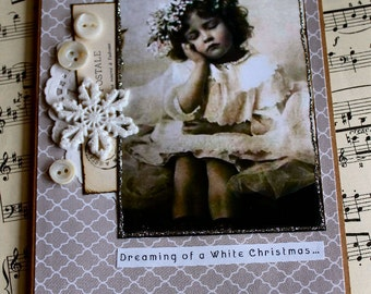 Dreaming of a White Christmas Handmade Christmas Collage Greeting Card
