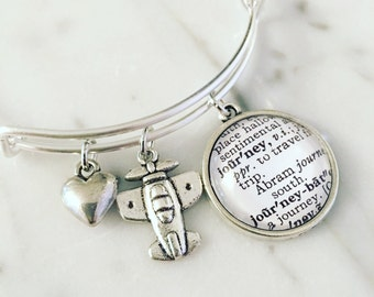 Journey Vintage Dictionary Charm Bangle Bracelet - Personalized Definition Jewelry - Bangle - Travel - Arm Candy - Arm Party