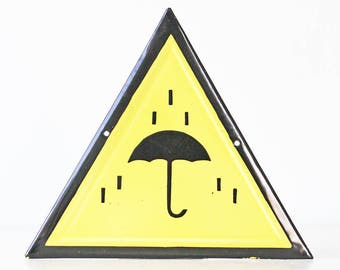 Vintage Enamel Sign, Umbrella, Rain