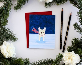 Frenchie in The Snow Card - French Bulldog Christmas Card - Snowy Starry Night Frenchie Greeting Card - Frenchie Holiday Card