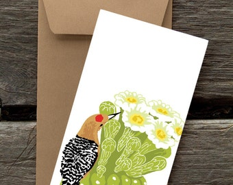 Gila Woodpecker and Saguaro: Pack of 8 eco-friendly flat cards