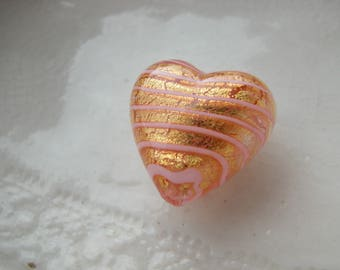 Murano Gold Glass Heart Bead , 18mm