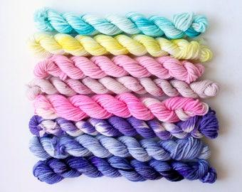 candy land.. 4 ply, 8 ply, 12ply mixed set hand dyed wool yarn, mini skein, soft, knitting weaving yarn, hand dyed sock yarn, dk yarn