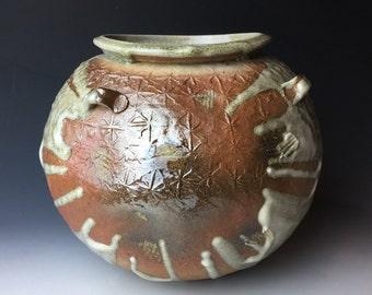 Ash Glazed Large Paddled Jar
