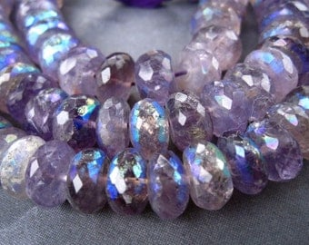 Large Mystic AB Amethyst faceted rondelles - 6 1/2 inch strand - 11mm X 6mm