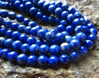 Lapis Lazuli beads Rounds 5mm 7 1/2 inches AAA natural stone Afghanistan