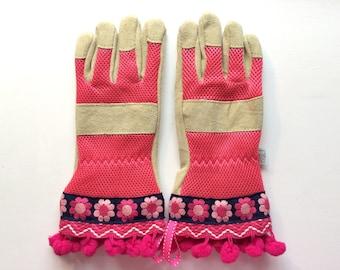 Designer Leather Garden Gloves - Flowers, Zig Zag, Pom Poms